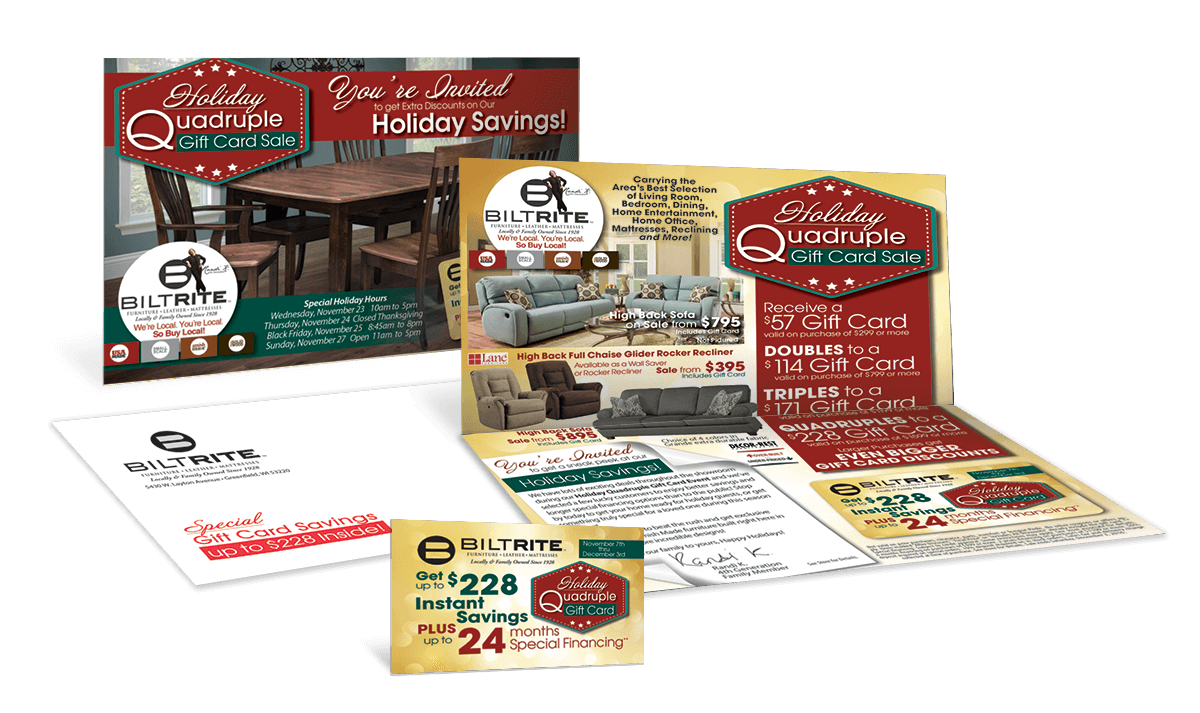 The Killer Gift Card Mailer Furniture Direct Mail Promotional Mailings