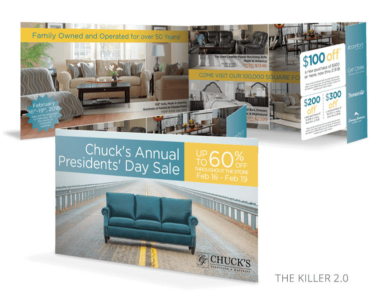 The Killer 2 Direct Mail Promotional Mailer For Furniture Stores