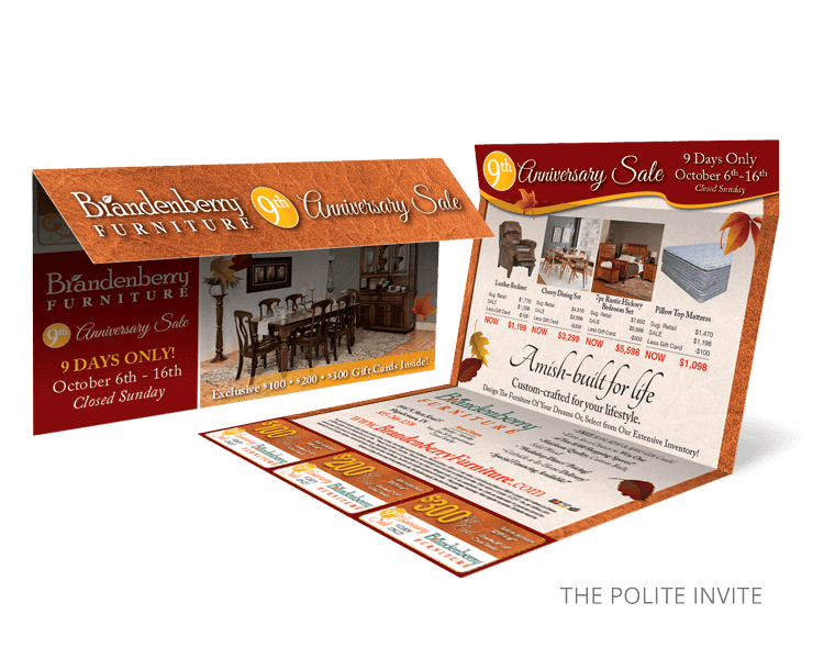Polite Invite Furniture Store Direct Mail Promotions