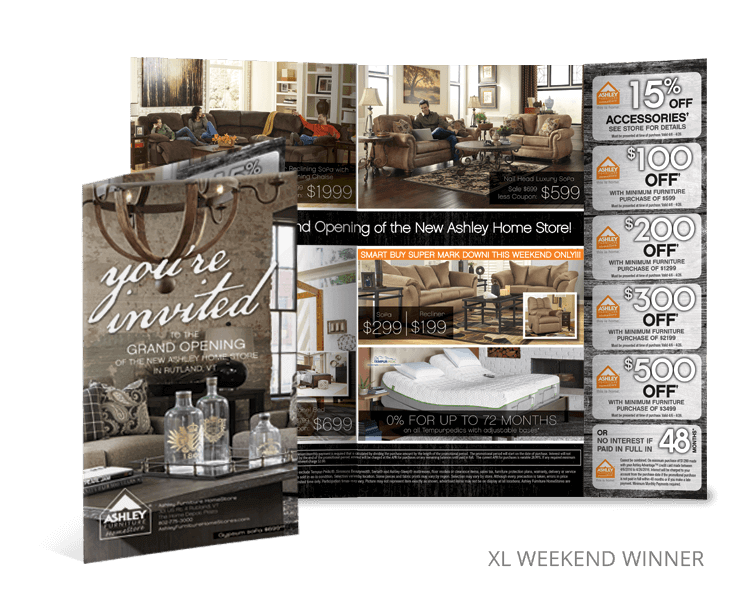 XL weekend winner furniture direct mail promotions